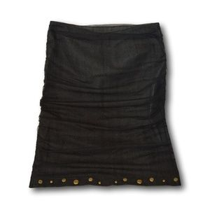 Le Chateau Black Denim Skirt with Net & Gold Studs